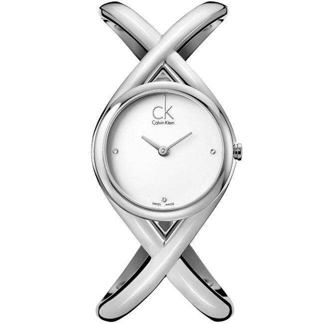 08 Calvin Klein Enlace 時尚經典L手圍手鐲腕錶-銀白27mm