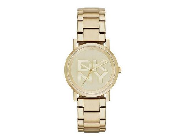 10 DKNY 紐約時尚摩登LOGO金色腕錶