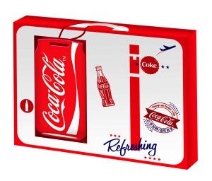 於Hi-Life萊爾富便利商店購買「可口可樂」「開蓋送機票下午3點天天抽」促銷活動指定包裝系列商品任2瓶,即可以NT 99元加購「可口可樂」易開罐造型的證件套夾
