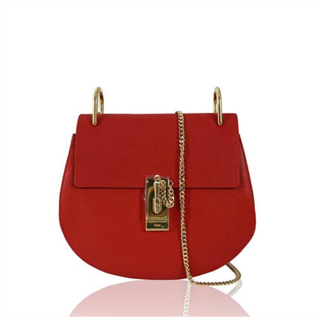 01 Chloé 寶石紅色山羊皮金鏈mini drew bag