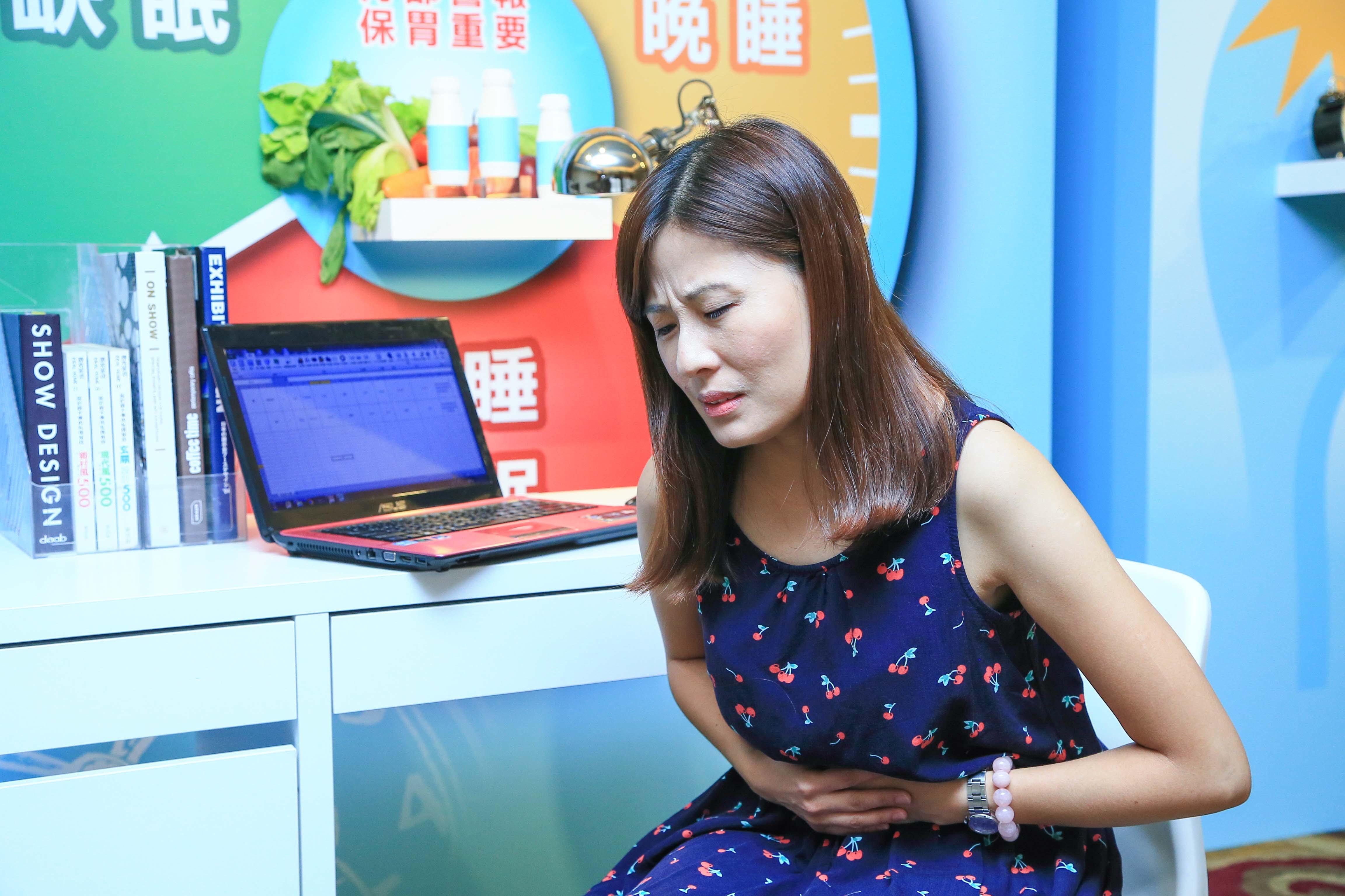 蔡小姐除了工作外還要兼顧家庭,有晚睡、睡眠時數不足情形,因此常有胃部不適問題,也反向影響了睡眠及工作狀況。