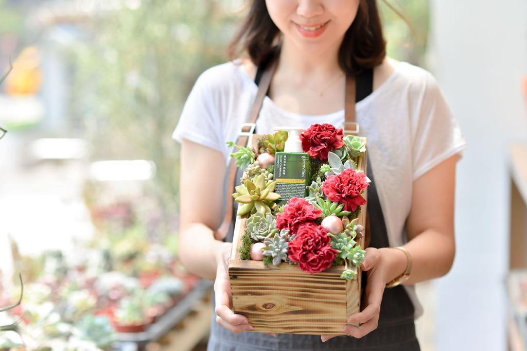 康乃馨多肉禮盒-禮盒本身即是盆器
