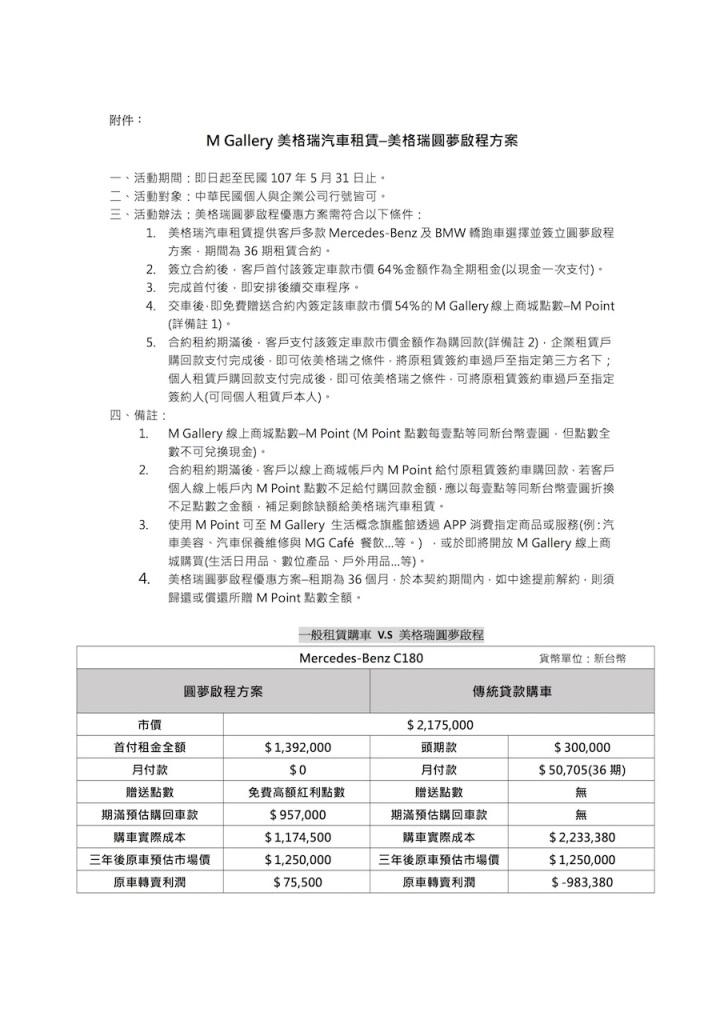 M Gallery美格瑞汽車租賃–美格瑞圓夢啟程方案