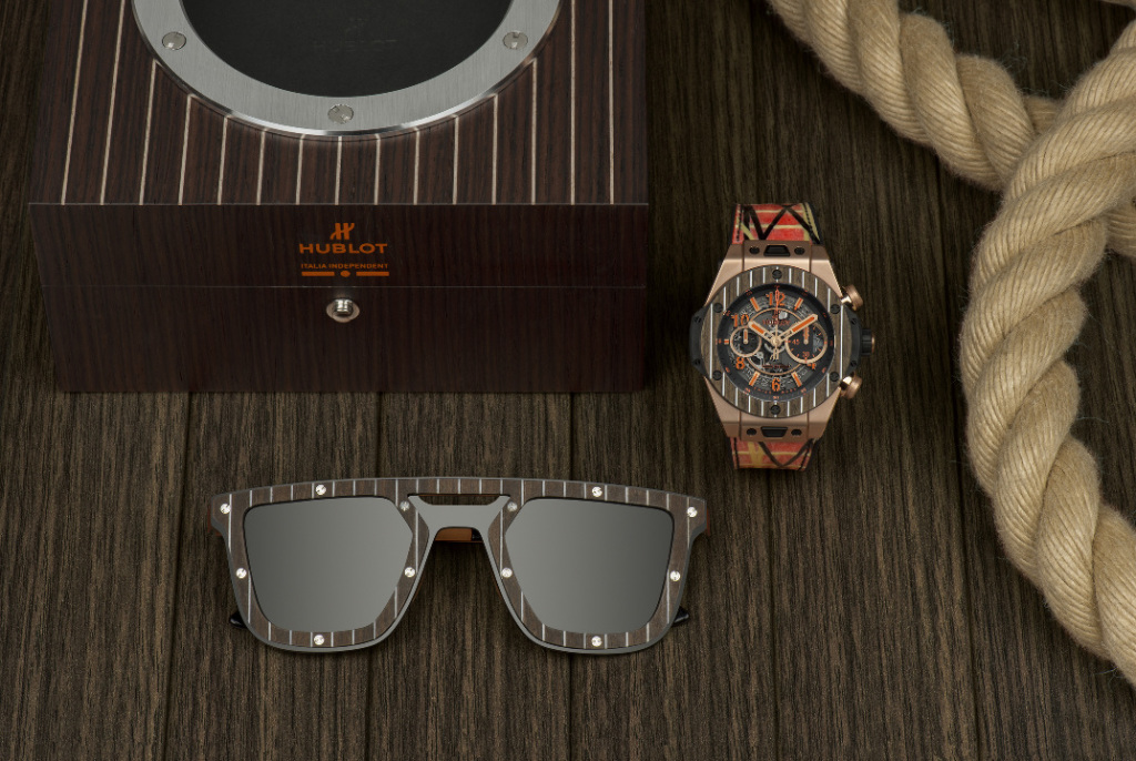 BIG BANG UNICO ITALIA INDEPENDENT 柚木腕錶搭配柚木太陽眼鏡與錶盒