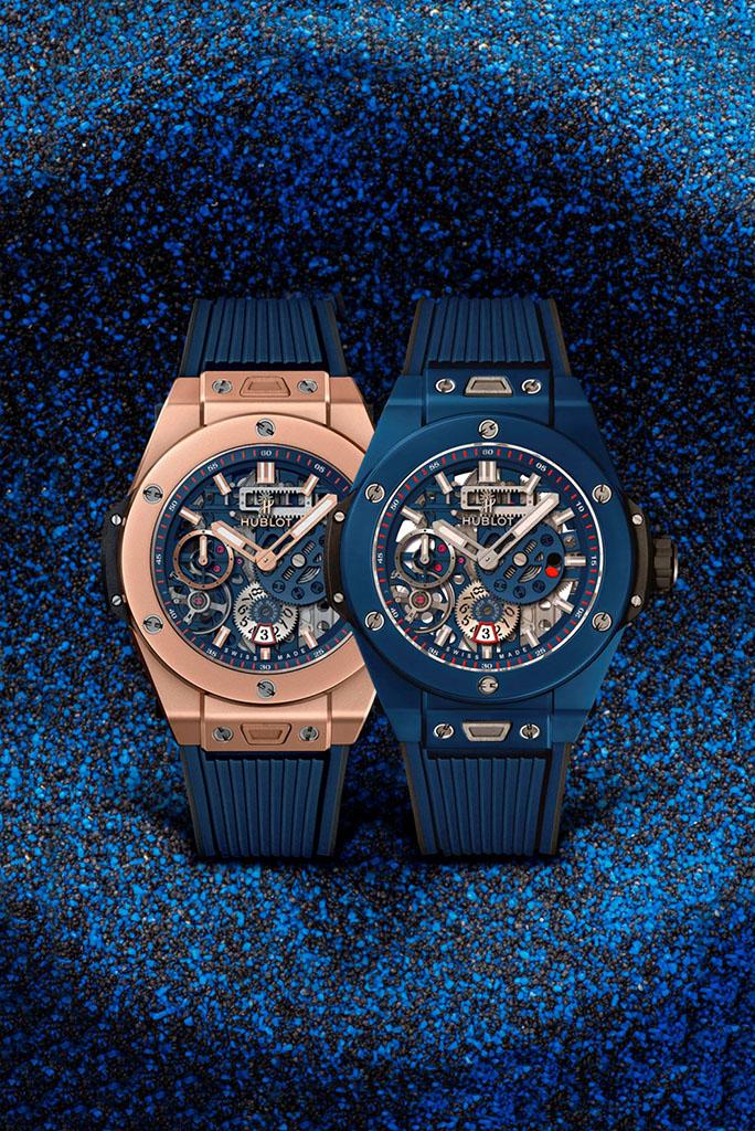 BIG BANG MECA-10 藍陶瓷腕錶與BIG BANG MECA-10皇金腕錶