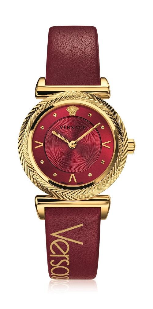 Versace V-Motif Vintage Logo系列暗紅復古Logo裝飾腕錶 $35,600