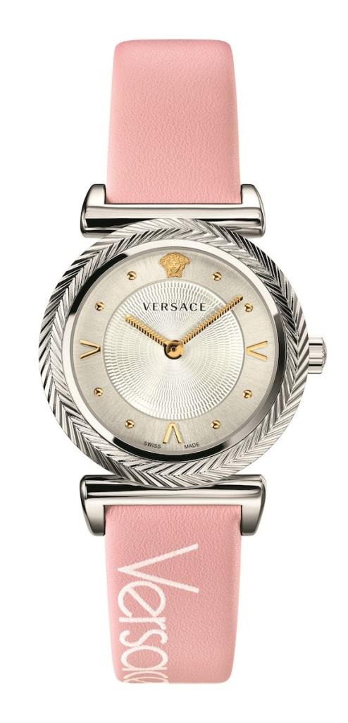 Versace V-Motif Vintage Logo系列粉紅復古Logo裝飾腕錶 $31,100