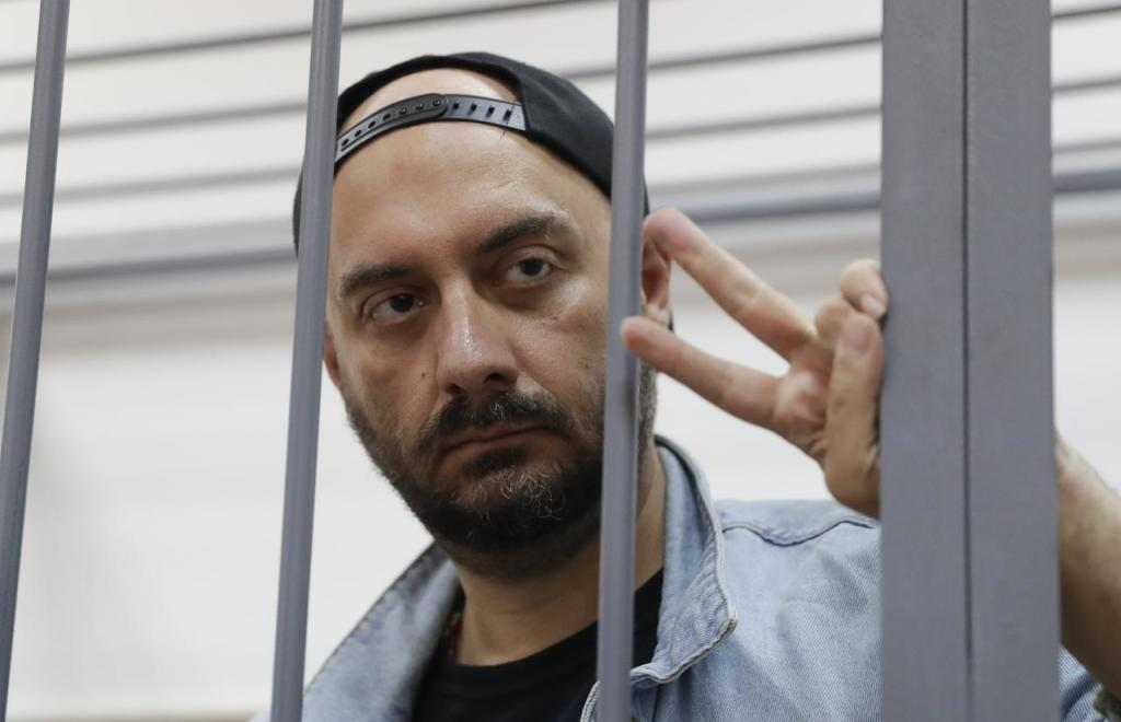 Russian theatre director Serebrennikov attends a hearing on his detention at a court in Moscow